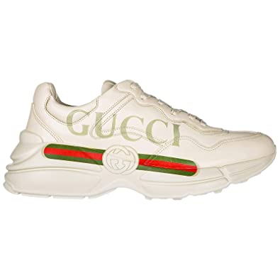 bbd5815a2ca Gucci Men s Shoes Leather Trainers Sneakers Rhyton White UK Size 7.5  500877DRW009522
