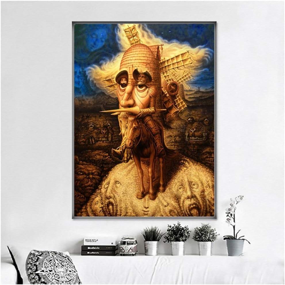 Cuadros abstractos de la decoración Pintura de la lona Cuadros de Don Quijote Cuadros de la pared para la sala de estar Decoración moderna del hogar -50x70cmx1pcs -Sin marco