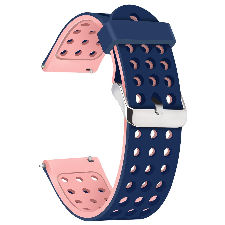 moretek 18 mm 20 mm 22 mm時計バンドfor Samsung Gear s3フロンティア、SAMSUNG Gear 2、SAMSUNG Gear s2 Classic、Huawei Watch、メンズのMoto 360 2 nd Gen 42 mm , Pebble Time Steelシリコンストラップ 22mm|BluePink BluePink 22mm B078LWZXQN