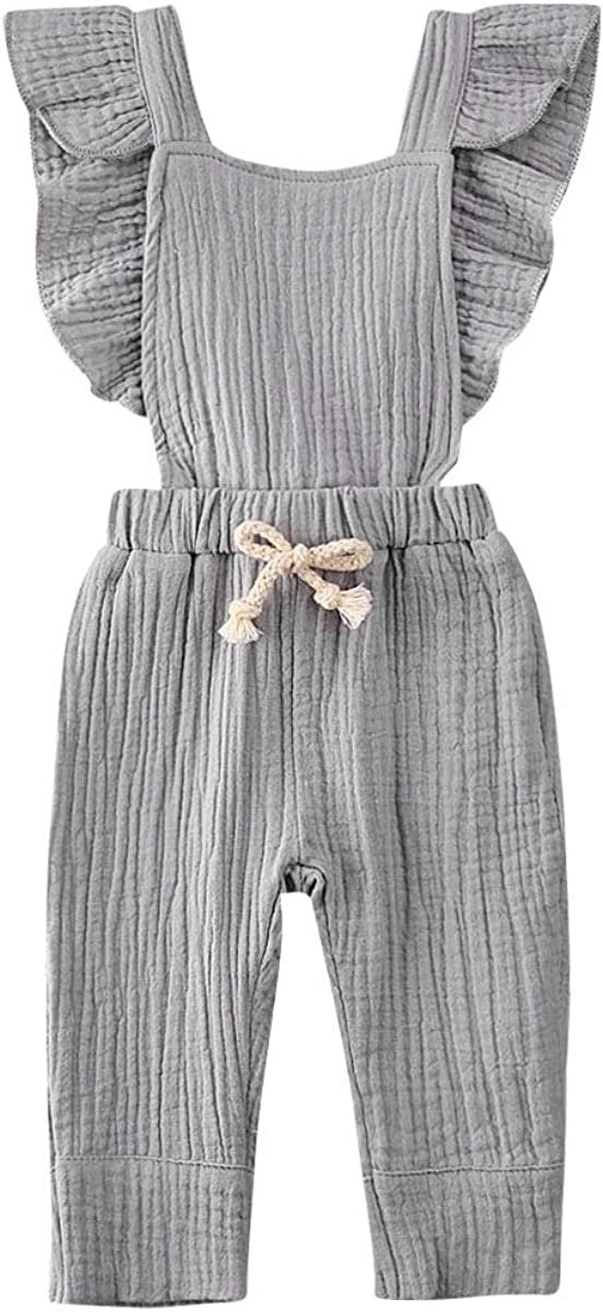 Womola Toddler Baby Sleeveless Solid Ruffles Romper Newborn Bow Jumpsuit Clothes