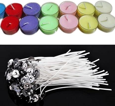 100pcs 10cm Cotton Pretabbed Candle Wicks with 100pcs Wick Sticker Low Smoke