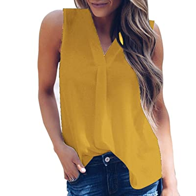 Winsummer Womens Casual Sleeveless V Neck Cuffed Pleated Blouse Shirts Summer Basic T Shirts Tunic Tops Tees: Clothing
