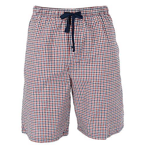 (Hanes Men's Cotton Madras Drawstring Sleep Pajama Shorts, Small, Navy Check)