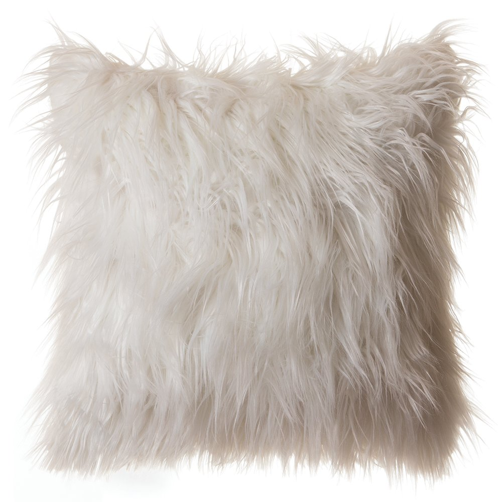 Faux Fur Throw Pillow 18''x18'' (Cover Only), Mongolian Long Hair White by North End Décor