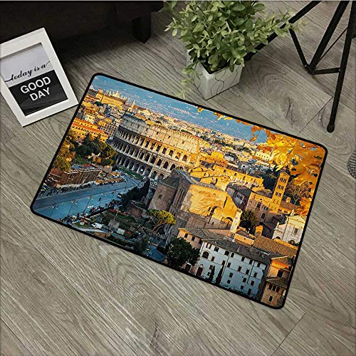 Easy Clean Mats Italy,Colosseum in Rome Amphitheater Ancient Historical Architecture Evening,Marigold Ivory Pale Blue,for Indoor Outdoor Easy Clean Entry Way,30