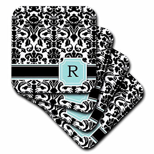 3dRose cst_154367_3 Letter R Personal Monogrammed Mint Blue Black & White Damask Pattern Classy Personalized Initial Ceramic Tile Coasters, (Set of ()