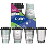 Dixie To Go Coffee Cups and Lids, 16 Oz, 10 Count, Assorted Designs, Insulated Hot Beverage Cups & Lids