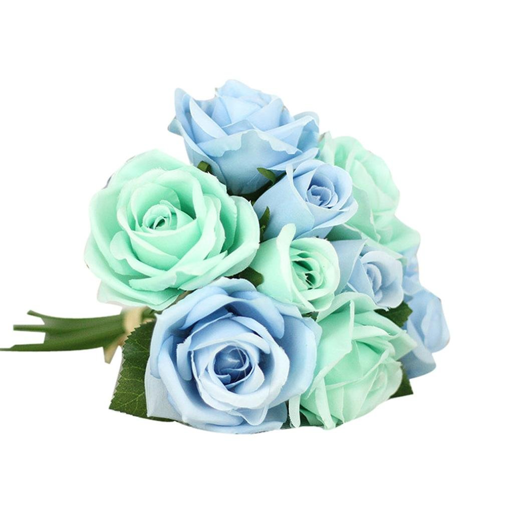 Amazon.com: LtrottedJ 9 Heads Artificial Silk Fake Flowers Leaf Rose ...