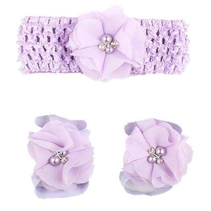 6be4fcf6754a84 Amazon.com  Sunfei 3 Pieces A Set Cute Baby Girls Toddler Flower Hairband  Headband   Shoes Set Children Accessories Flower Barefoot Sandal (Purple)   Musical ...