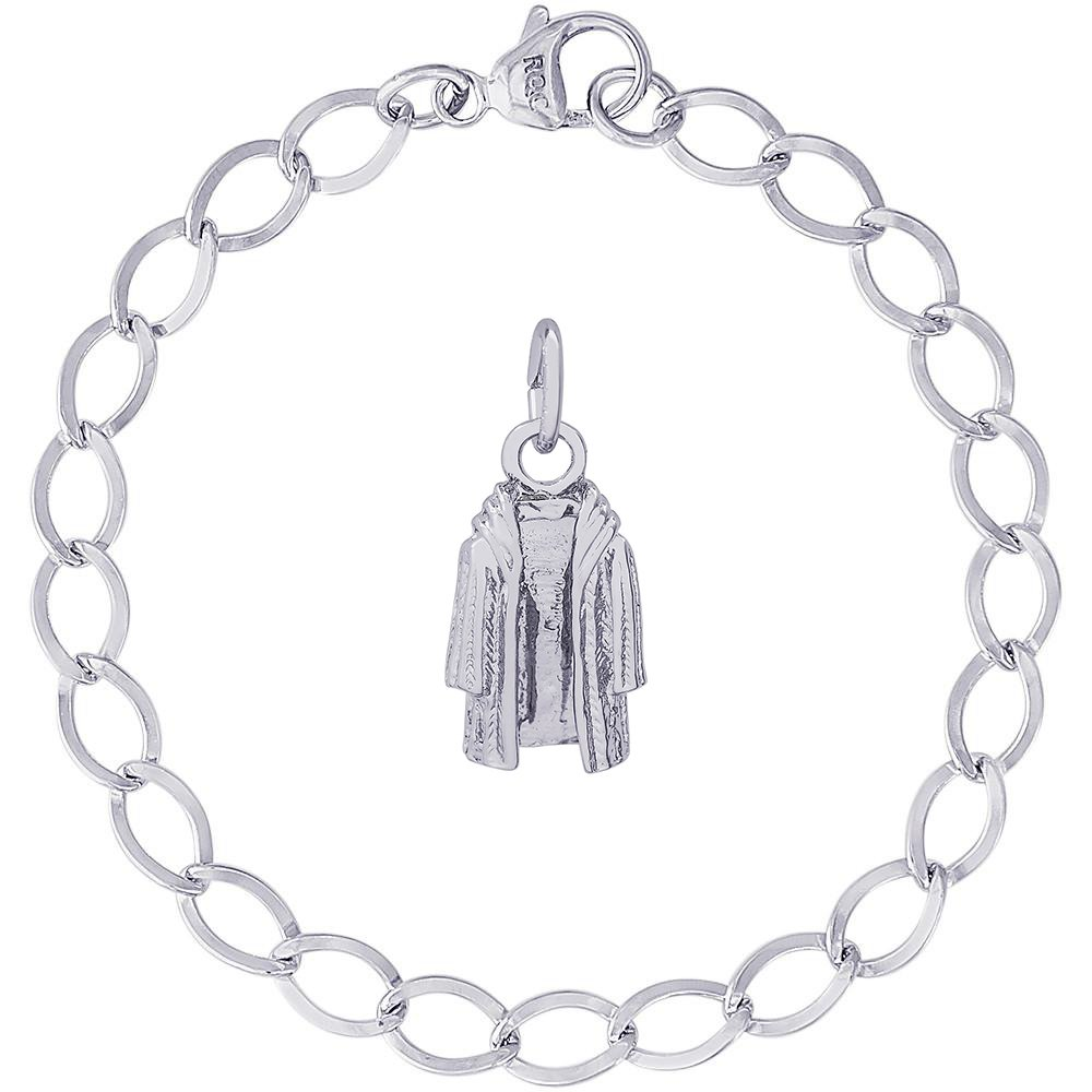 Rembrandt Charms Sterling Silver Fur Coat Charm on a Dapped Curb Bracelet, 7''