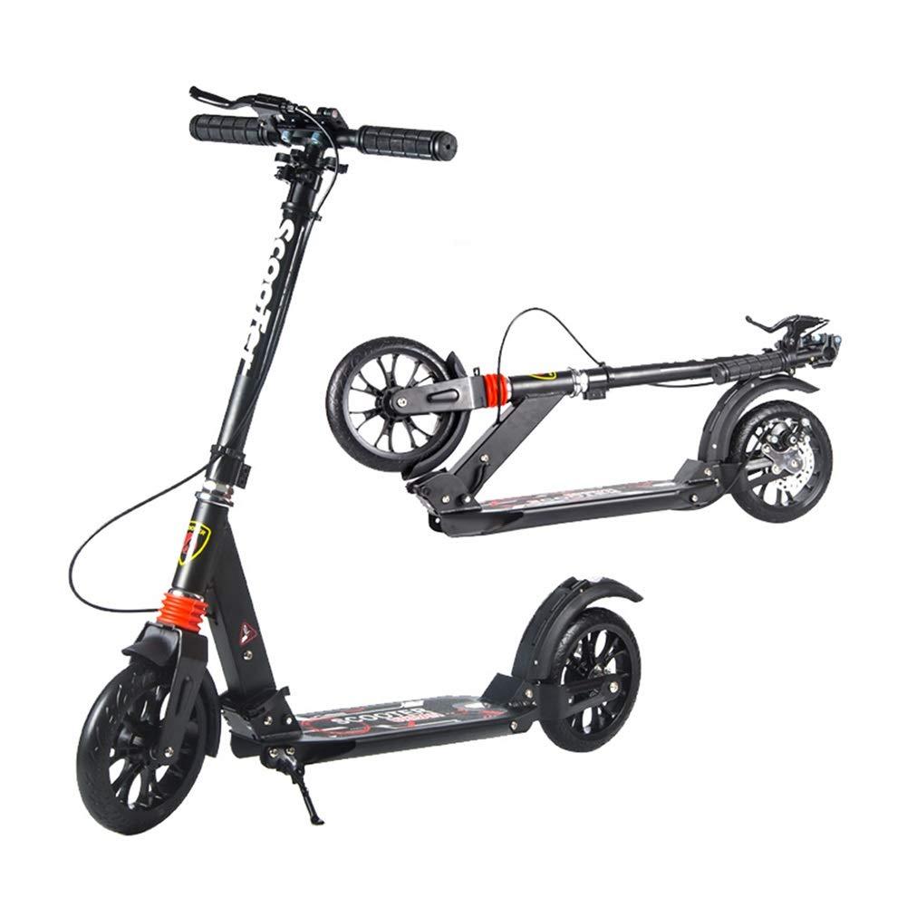 キックスクーター ディスクブレーキが付いているFoldable男女兼用の大人の蹴りのスクーター、女性/人/十代の若者たち/子供のための通勤スクーターの誕生日プレゼント、非電気、150kgまで (色 : 白) B07QLGZSBB ブラック ブラック