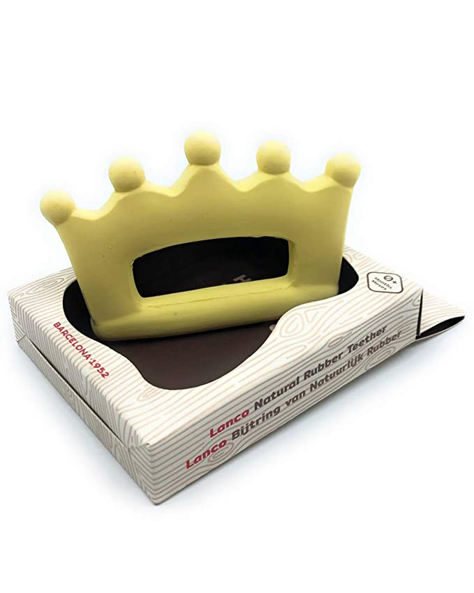 0 months+ Natural rubber teething toy Crown by Lanco fully moulded