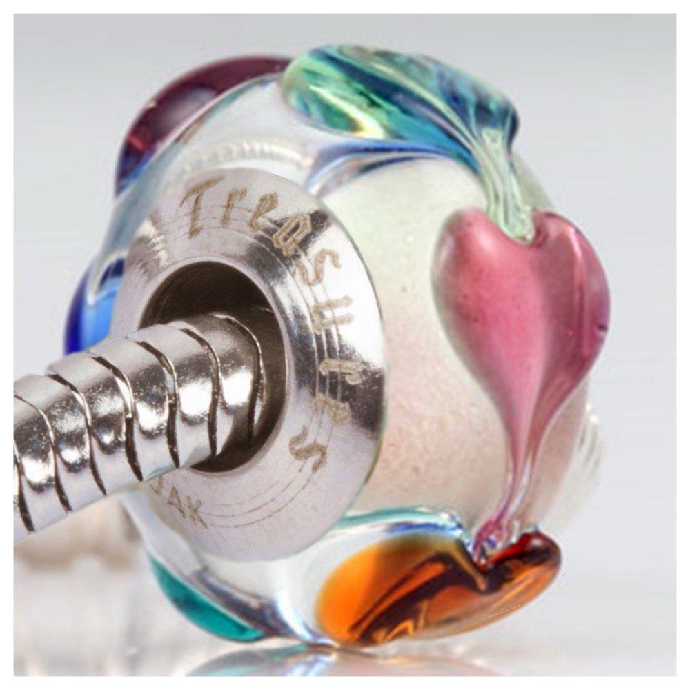 Eternal Hearts Charm for European Charm Bracelets Lampwork Glass Stainless Steel