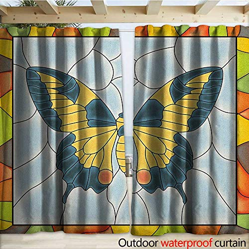 Butterflies Outdoor Curtain Panel for Patio Butterfly in Stained-Glass Window with Frame Wing Spring Garden Illustration W120 x L96 Multicolor ()