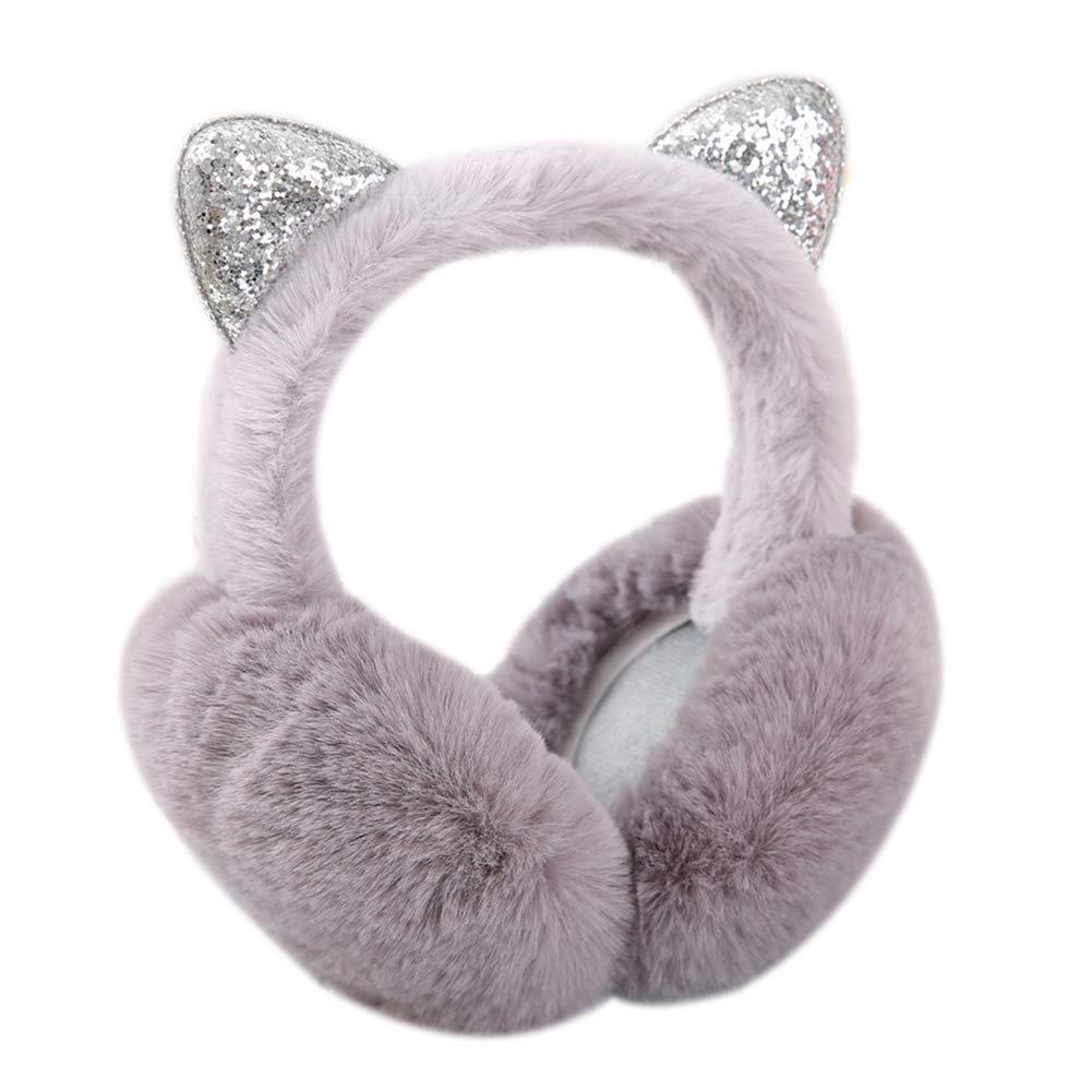 Wansan cuffia invernale pieghevole pieghevole peluche orecchio forma dellorecchio scaldino morbido protezione per le orecchie