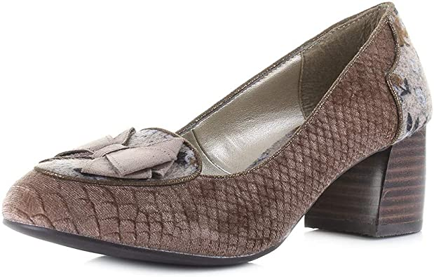 Ruby Shoo Thalia Black Tweed Block Heel Shoes New
