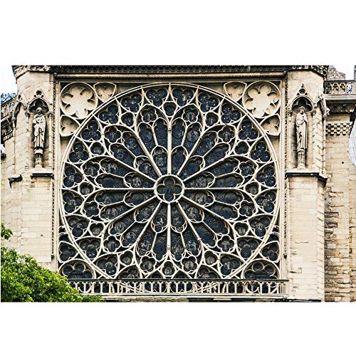 succeedtop Home Photo: Notre Dame Cathedral,Paris,France Rose Window of Notre Dame Cathedral Paris Art Photography Wall Art Photo Print Poster 18x12 in (Multicolor)