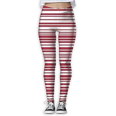 LeYue Women's Red Blue White America Bar Code Yoga Pants Performance Activewear Workout Leggings Sports Pants Size(S-XL)