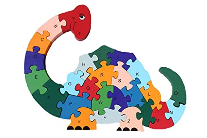 DD Wooden Jigsaw Puzzles Winding Dinosaur Toys For Preschool Letter Numbers Educational