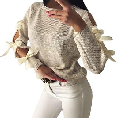 0eeb720337651 Wolfleague Pull Femme Chandail De NoëL Dames Pullover Imprimé à Manches  Longues Col Rond Tops Chaude