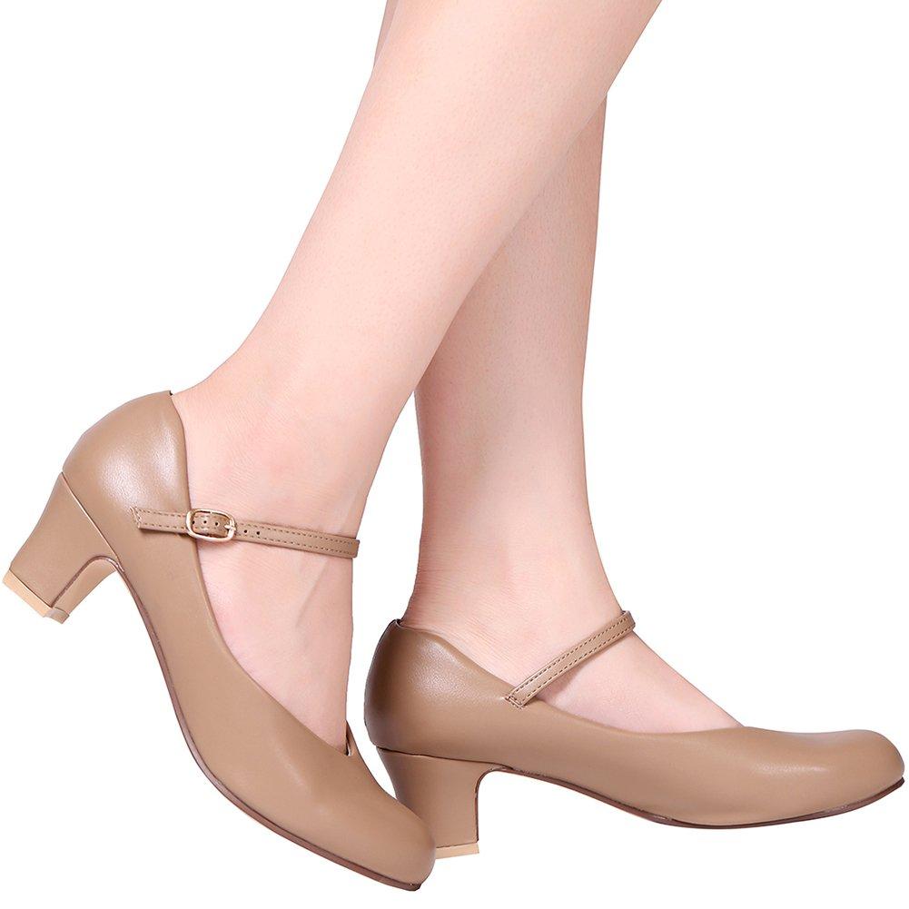 STELLE 2'' Character Dance Shoe (Women/Big Kid)(Tan, 7.5M) by STELLE