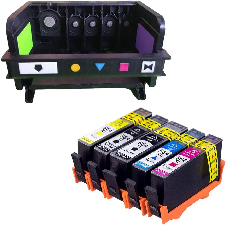 AceInk Remanufactured 5-Slot HP564 Printhead + 5X HP564XL Ink Cartridges with Latest Chip Compatible for HP B210b B210c B210d C510a 3521 3522 3526 3070A 5510 5512 5514 4610