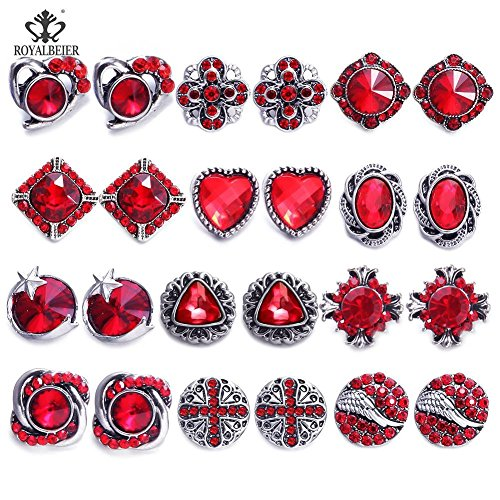 RoyalBeier Mixed Lot Multi Color Rhinestone Metal Button Charms 12mm Snap Button for Snap Jewelry HM008 (12 Pairs)
