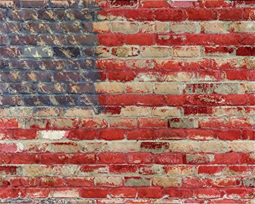 AOFOTO 5x4ft American Flag Pattern Brick Wall Photography Vintage Backdrops Background Patriotic Youngers Boy Girl Adult Kid Baby Toddler Man Portrait Photo Shoot Studio Props - Man Of Place Liberty Style