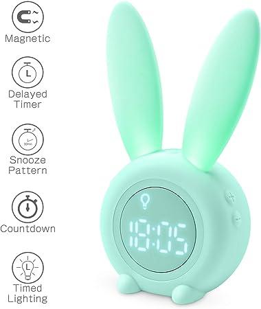 Homealexa Kids Light Alarm Clock Cute Rabbit Wake Up Kids Alarm Clock Creative Bedside Lamp Snooze Function, Timed Night Light, Children's Day Gift,