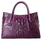 PIFUREN Designer Crocodile Top Handle Handbags Womens Genuine Leather Tote Bags 5002A Violet