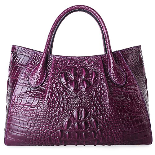 PIFUREN Designer Crocodile Top Handle Handbags Womens Genuine Leather Tote Bags 5002A Violet by PIFUREN