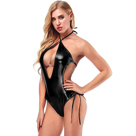 067fbd1d585 Women Sexy Leather Jumpsuit Lingerie Halter Pajamas Clubwear Bandages  Underwear (Black
