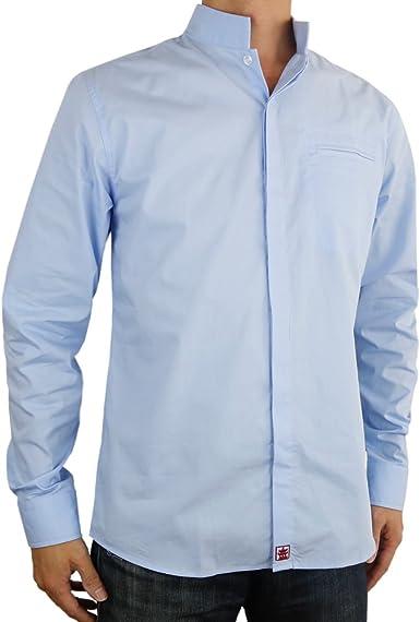 Sinologie - Camisa de Vestir - Cuello Mao - para Hombre Azul Celeste M: Amazon.es: Ropa y accesorios