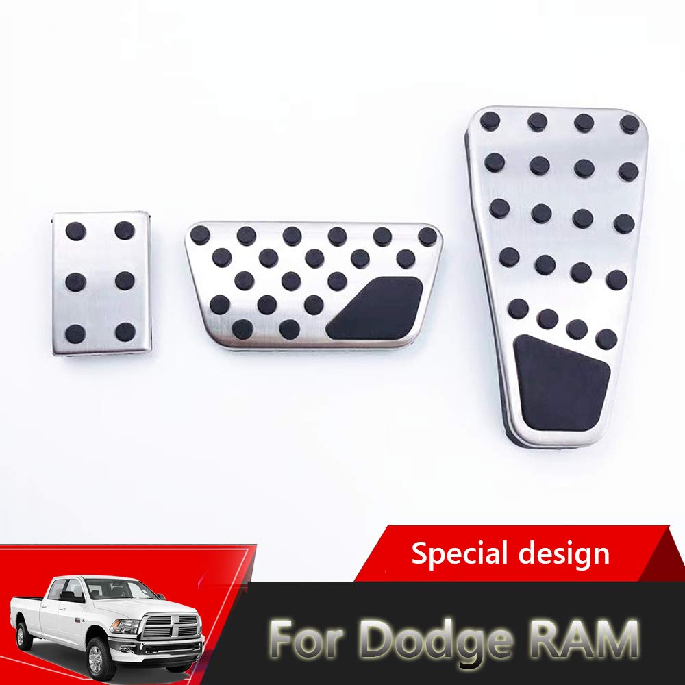 2010-2019 for for Dodge RAM 1500、2500 Great-luck High quality stainless steel Pedal Covers,Accelerator Pedals Brake Foot Pedal Pads with Rubber Pull Tabs 3 pieces silver