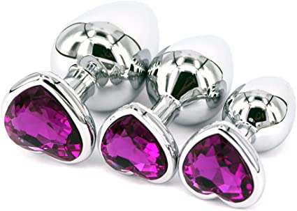 Gift Pink Butt Toy Plug Anal Heart Jeweled Gem 3 Size Set