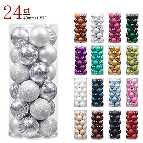 "Christmas Tree Decorations - KI Store 24ct Christmas Ball Ornaments Shatterproof Christmas Decorations Tree Balls SMALL for Holiday Wedding Party Decoration, Tree Ornaments Hooks included 1.57"" (40mm Silver)"