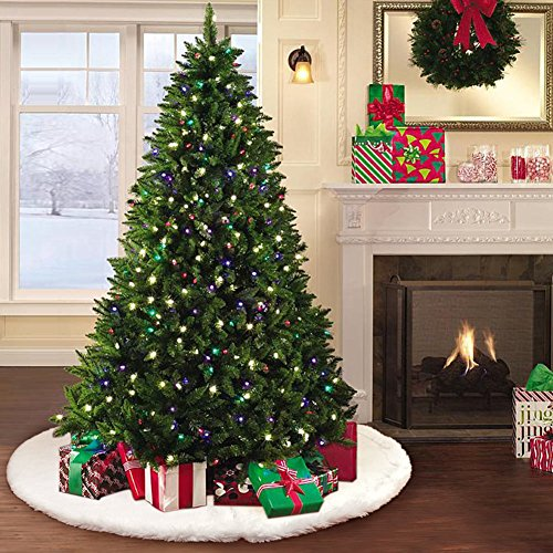 Aerwo faux fur christmas tree skirt inches snowy white
