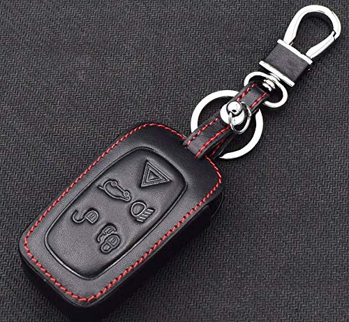 CHAMPLED For Land Rover LR4 LR2 Sport Rang Rover Protective Car Remote Leather Skin Case Cover Holder Jacket Bag Pouch Fob Hook Protection Key Chain Key Ring