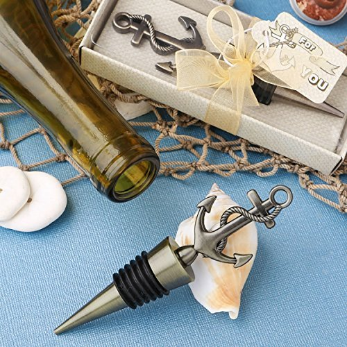 Antiqued Brass Toned Anchor Design Metal Bottle Stopper -