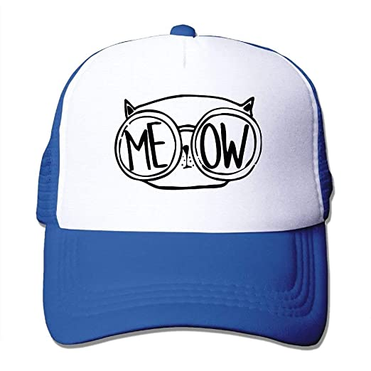 62267fc4af6 Amazon.com  Meow Cat Glasses Nerdy Love Mesh Trucker Caps Hats ...