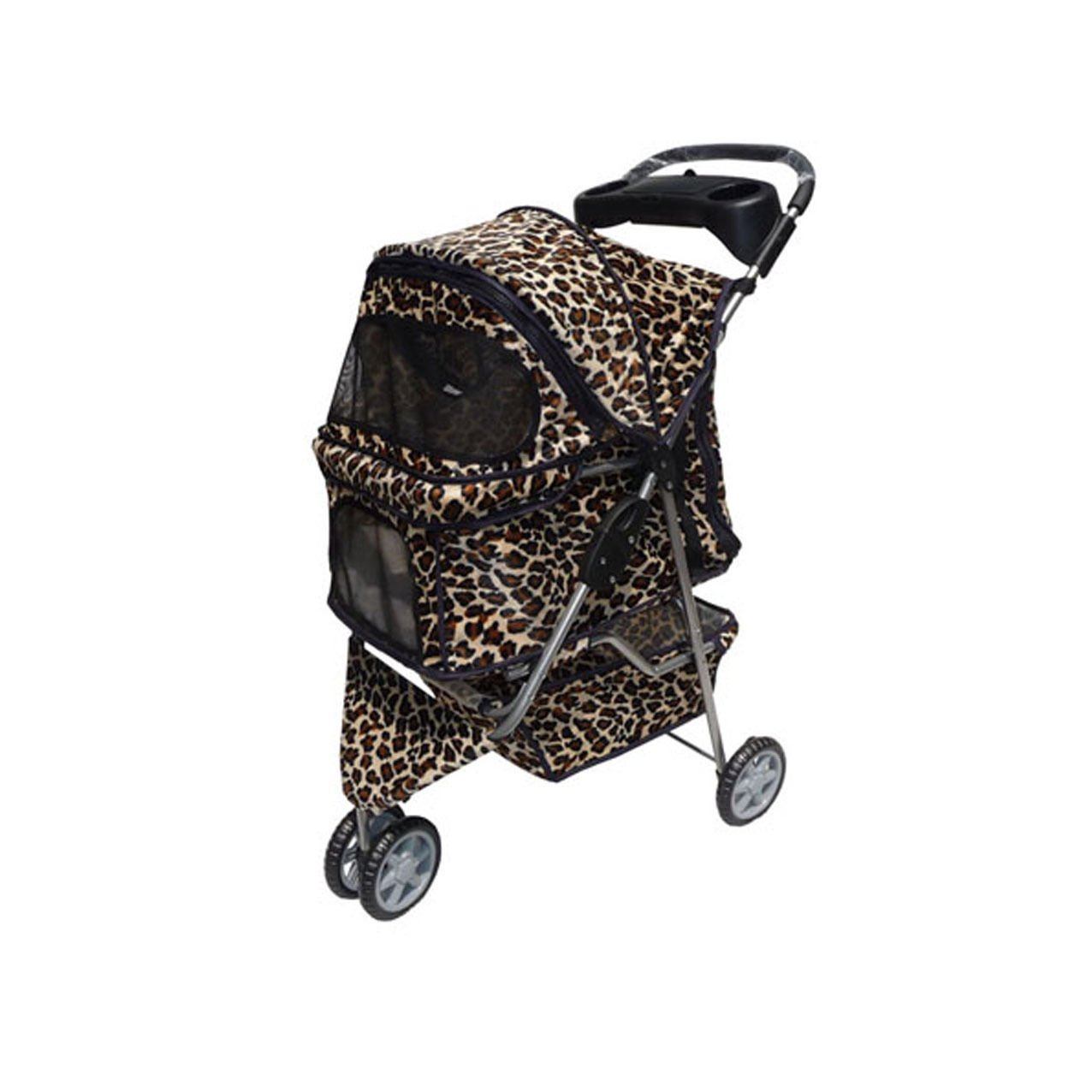 Leopard Skin 3 Wheels Pet Dog Cat Stroller Free RainCover