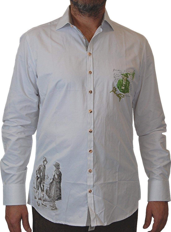 OS Trachten Herren Tracht und Freizeithemd Siggi mit Print vorne und hinten auch in großen Größen