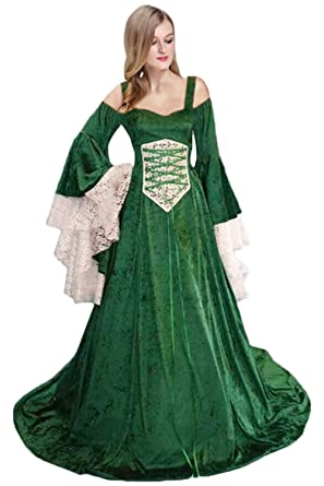 Vestido Medieval Mujer Traje de Renacimiento Retro Verde ...