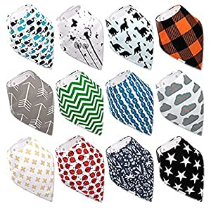Baby Bandana Drool Bibs By Daulia, Unisex 12-Pack Absorbent Organic Cotton, Cute Baby Gift for Boys & Girls