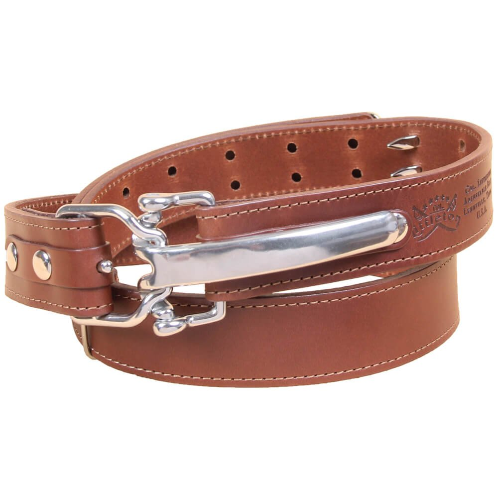 Brown Leather Mens Belt Adjustable No. 5 Stainless Cinch Buckle XLarge USA Made Italian Bridle Unique 1 3/16 inches wide