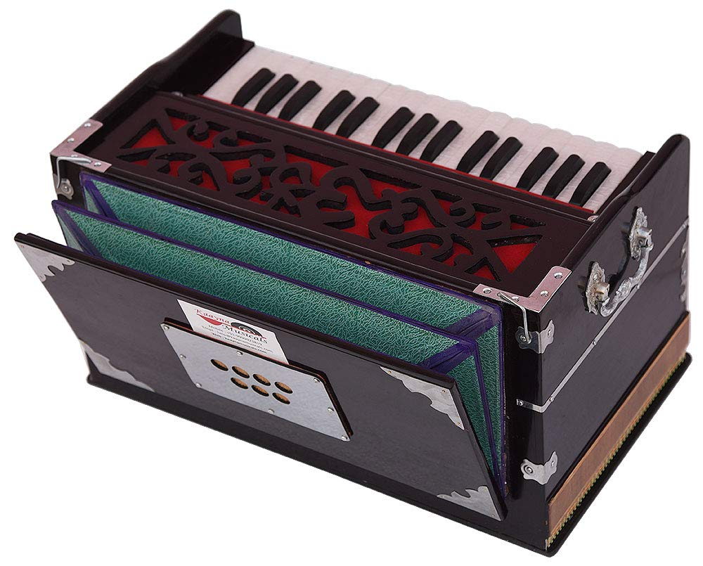 OM Harmonium Mini Magic By Kaayna Musicals, 4 Stop- 2 Main & 2 Drone, 2¾ Octave, Dark Cherry Colour, Gig Bag, Bass/Male- 440 Hz, Best for Yoga, Bhajan, Kirtan, Shruti, Mantra, Meditation, Chant, etc. by Kaayna Musicals (Image #5)