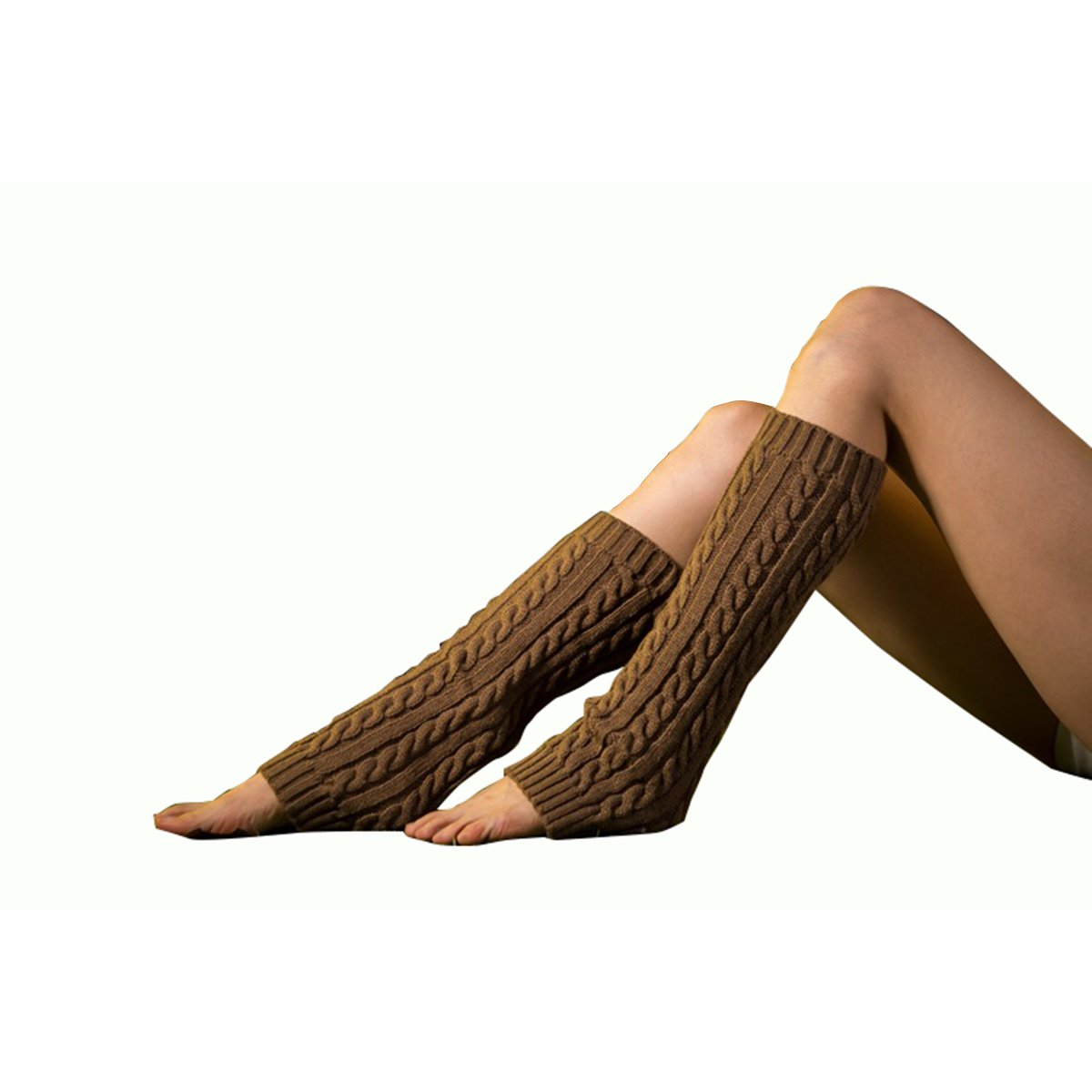 Unisex Cable Knit Leg Warmers Knitted Crochet Long Socks
