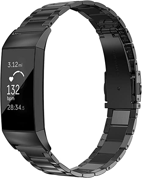 Wearlizer for Fitbit Charge 3 Strap Metal Circle Design Bracelet Replacement Band Women for Fitbit Charge 3 Special Edition