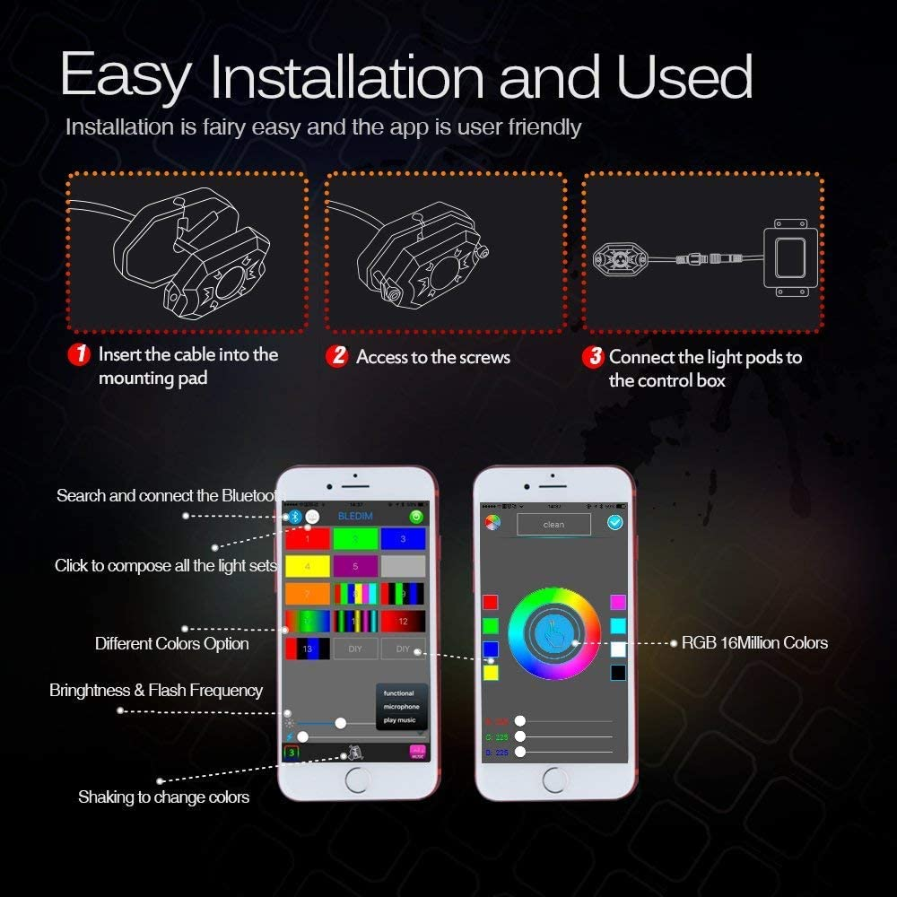 4Pods 4YANG RGB Rock Light Kits with 4 Pods RGB LED Rock Lights with Bluetooth Controller Off Road Truck SUV UTV ATV Boat