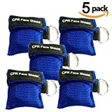 Pack of 5pcs CPR Mask Keychain Ring Emergency Kit Rescue Face Shields with One-way Valve Breathing Barrier for First Aid or AED Training (Blue)